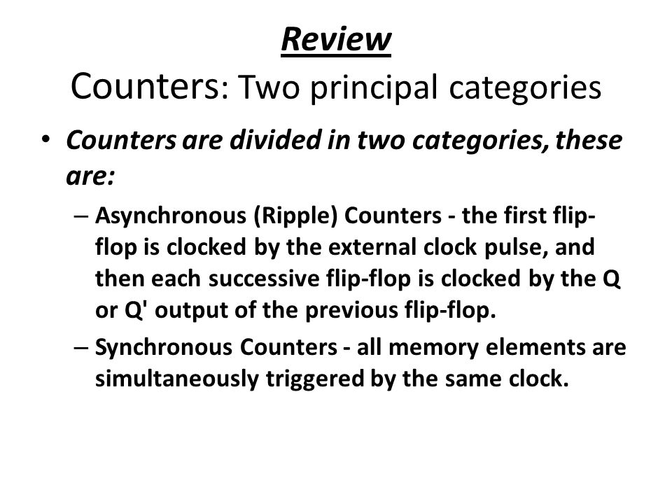Review Counters: Two principal categories