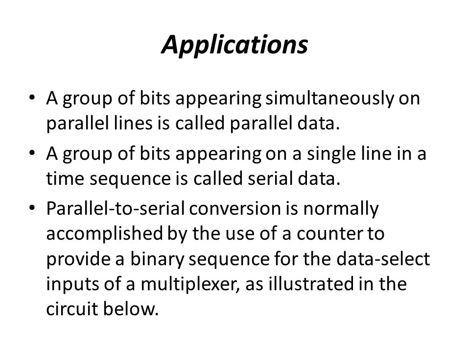 Applications A group of bits appearing simultaneously on parallel lines is called parallel data.