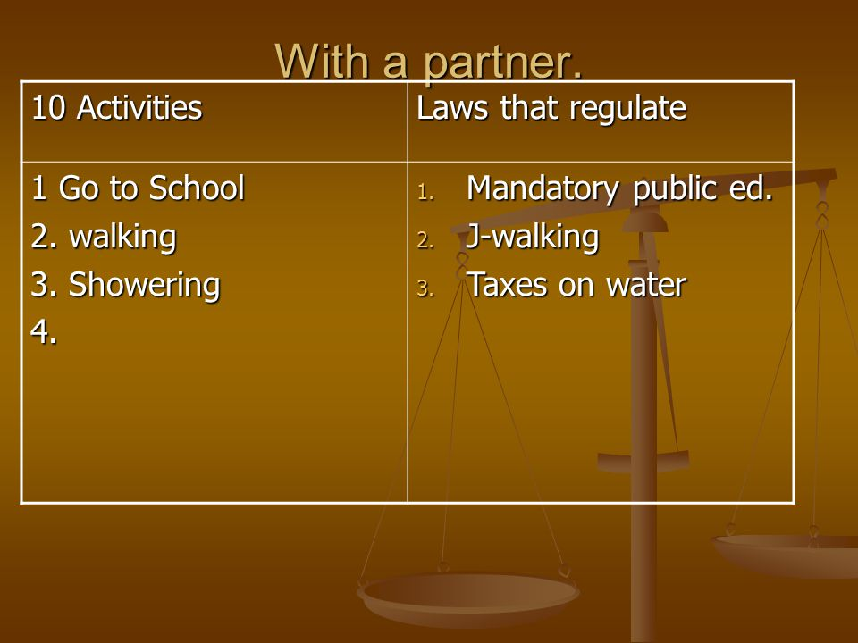 With a partner. 10 Activities Laws that regulate 1 Go to School