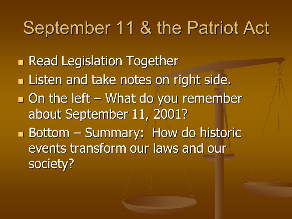 September 11 & the Patriot Act