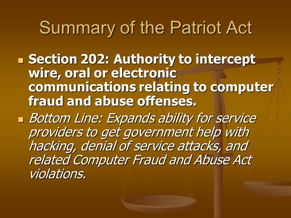 Summary of the Patriot Act