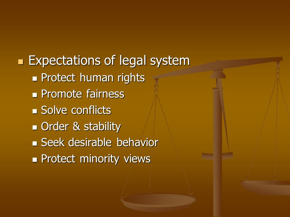 Expectations of legal system
