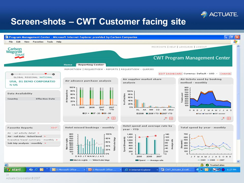 Screen-shots – CWT Customer facing site