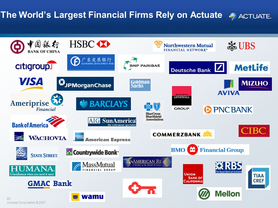 The World's Largest Financial Firms Rely on Actuate