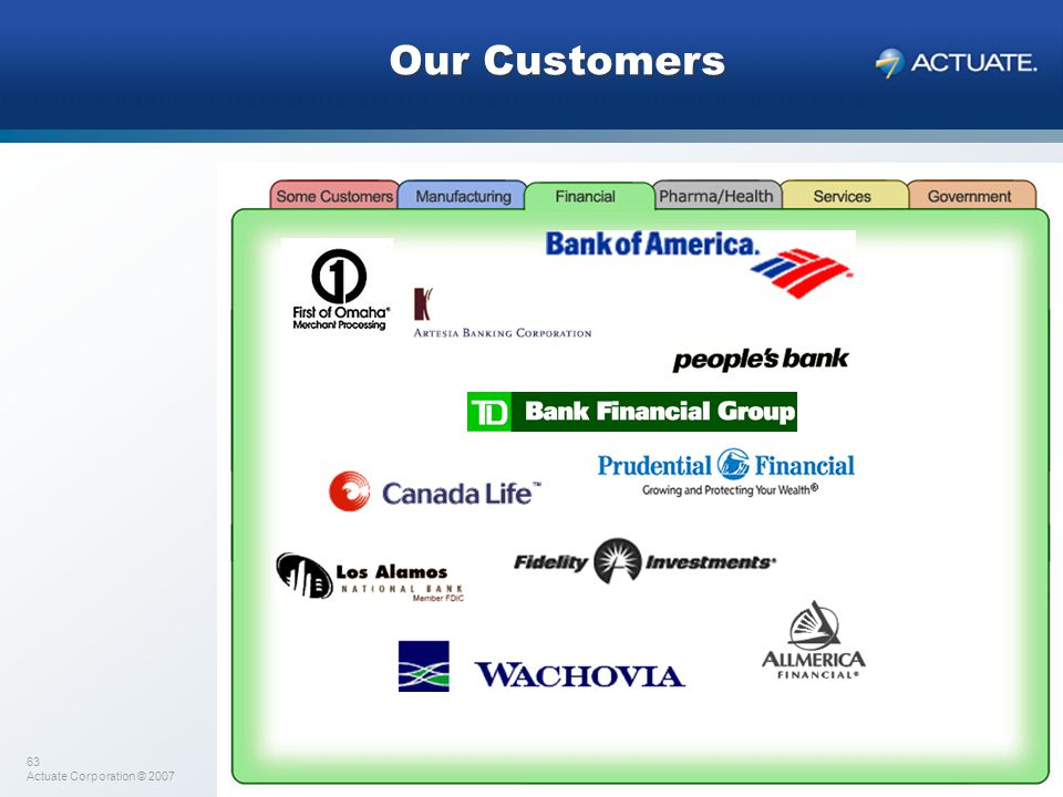 Our Customers Several financial companies…