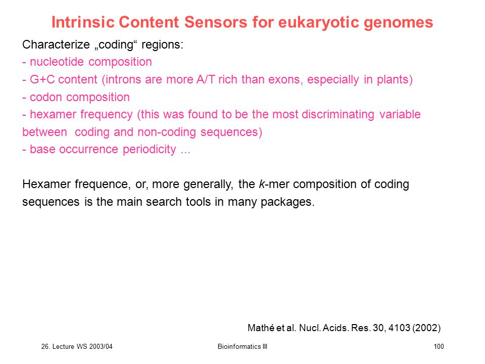 Intrinsic Content Sensors for eukaryotic genomes