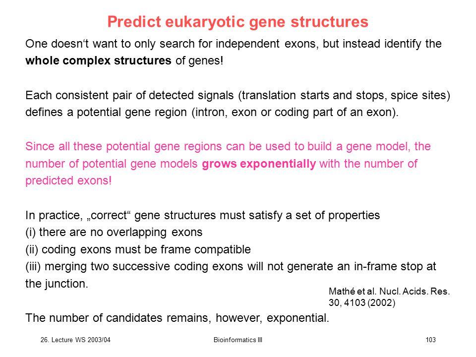 Predict eukaryotic gene structures