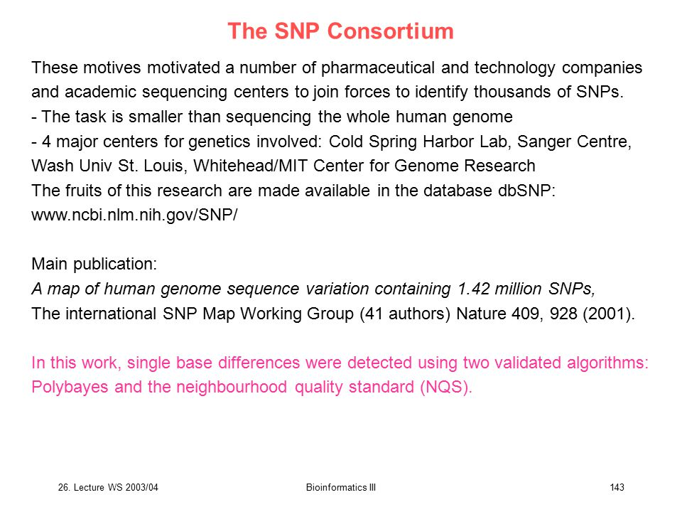 The SNP Consortium