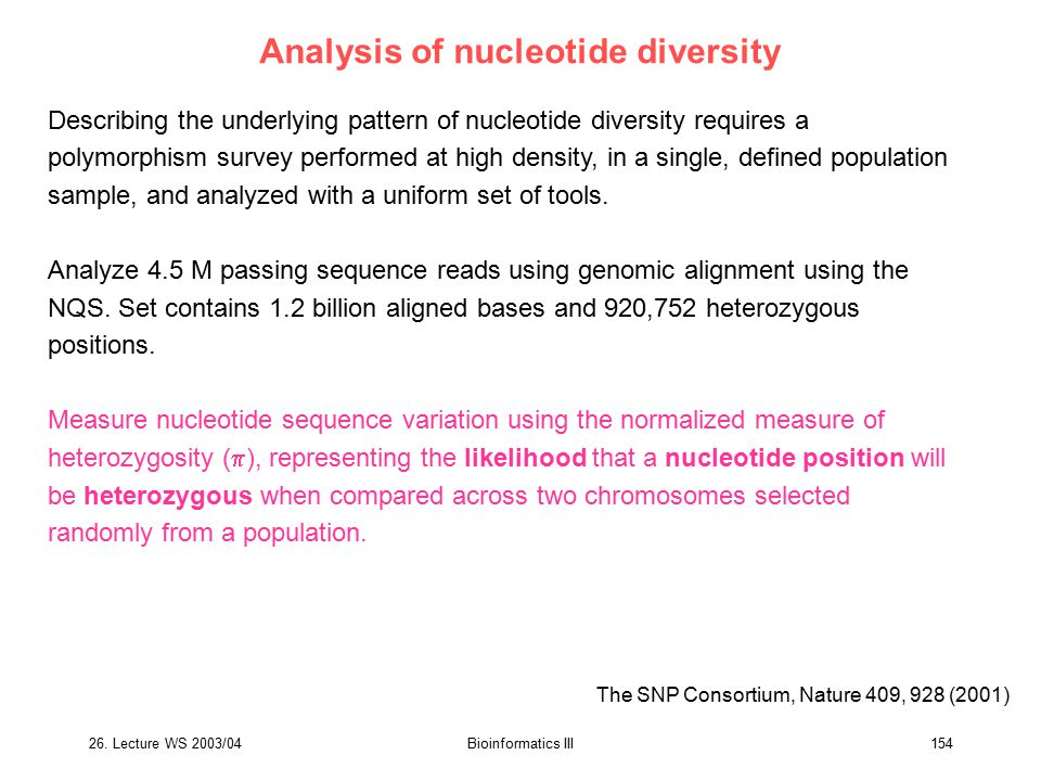 Analysis of nucleotide diversity