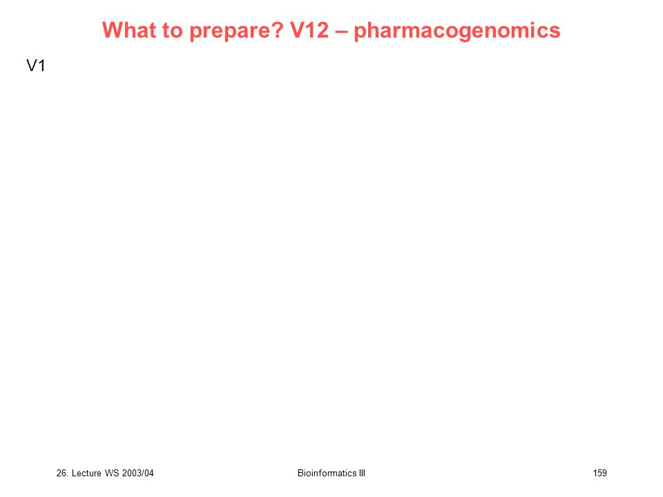What to prepare V12 – pharmacogenomics