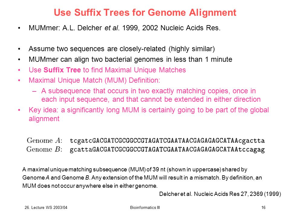 Use Suffix Trees for Genome Alignment