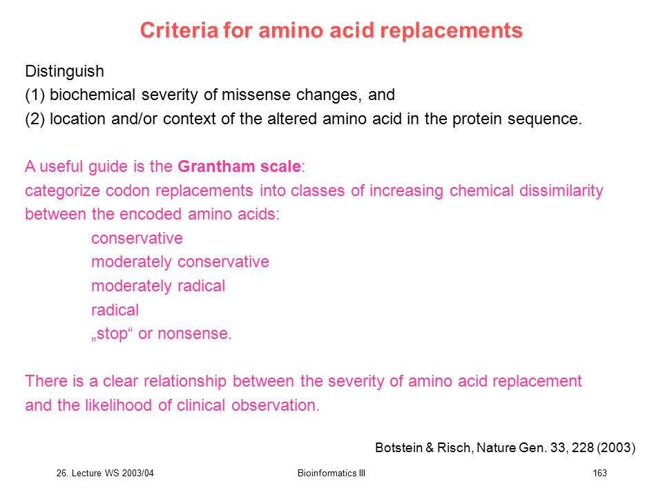 Criteria for amino acid replacements