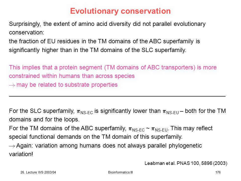 Evolutionary conservation