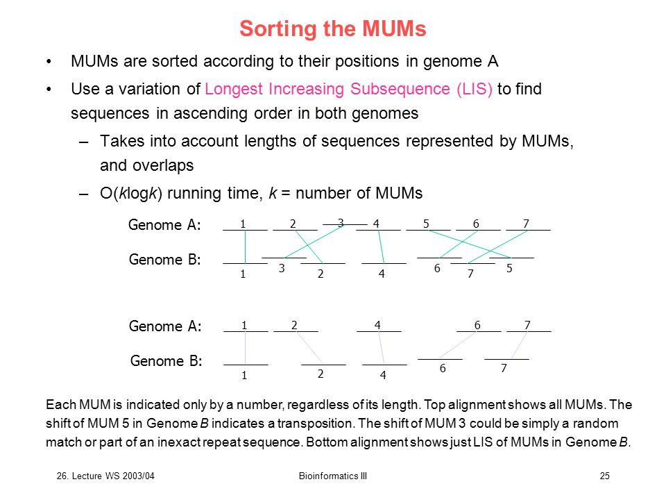 Sorting the MUMs MUMs are sorted according to their positions in genome A.