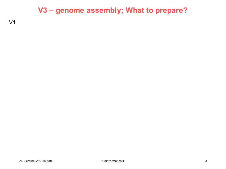 V3 – genome assembly; What to prepare