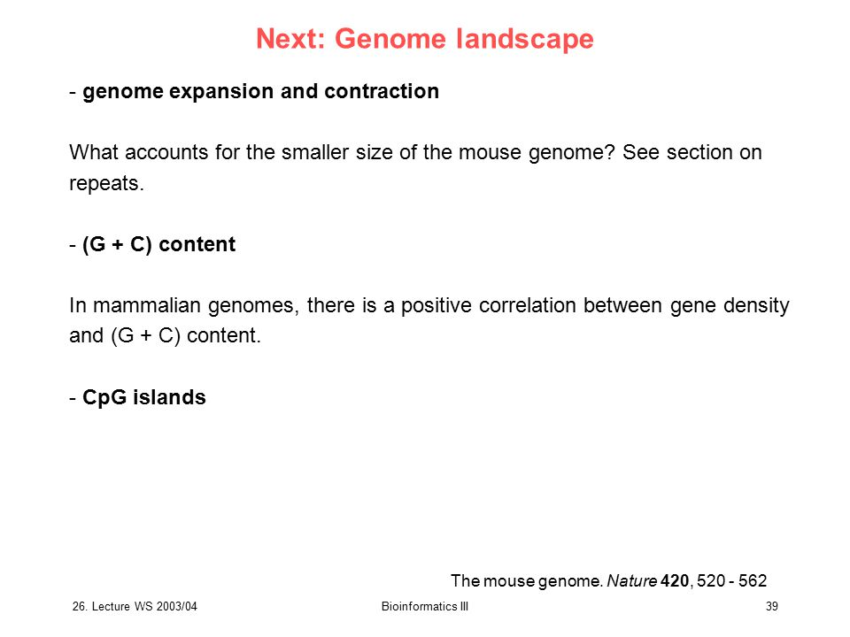 Next: Genome landscape