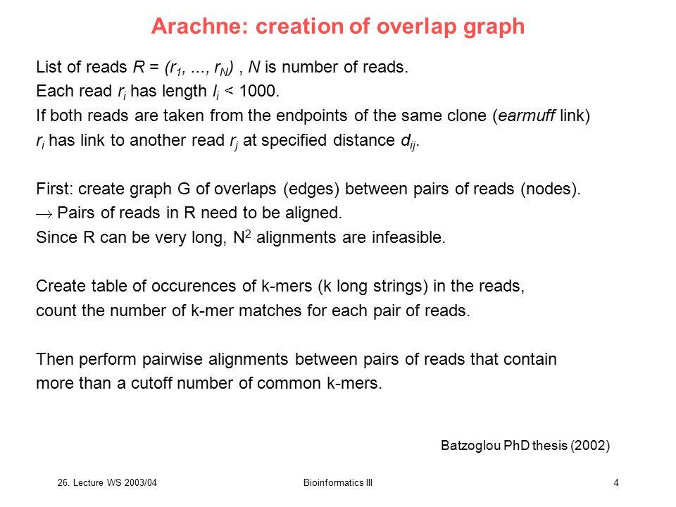 Arachne: creation of overlap graph