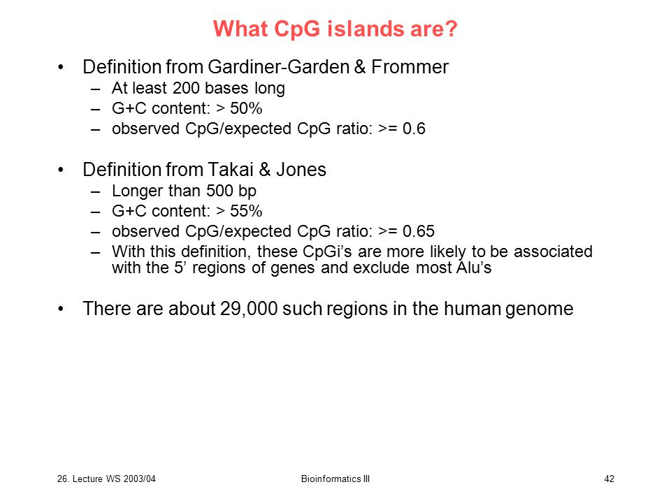 What CpG islands are Definition from Gardiner-Garden & Frommer