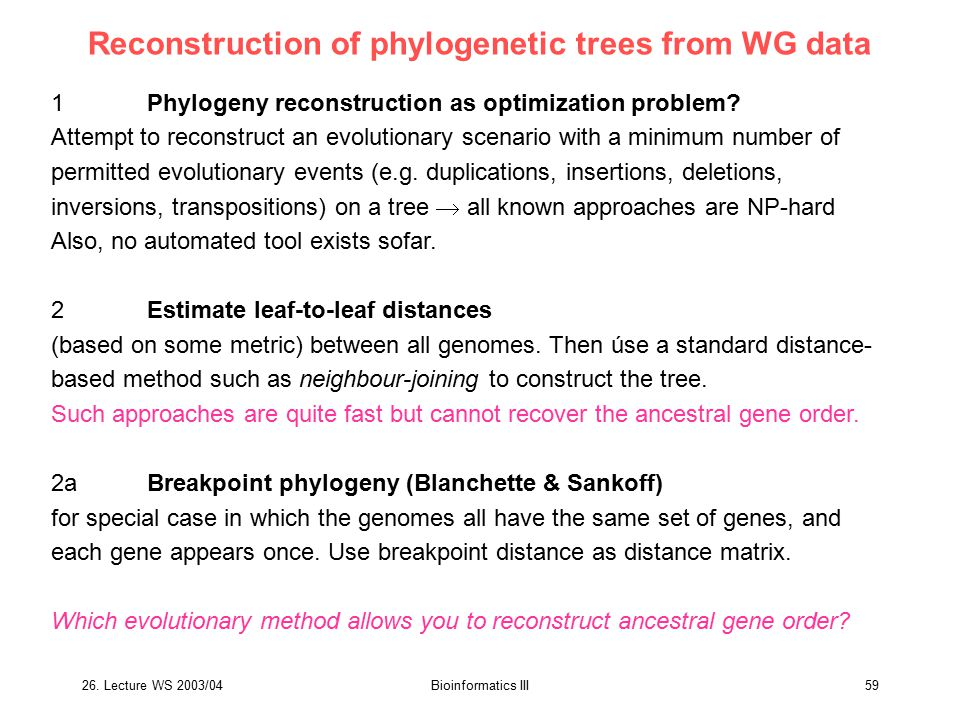 Reconstruction of phylogenetic trees from WG data