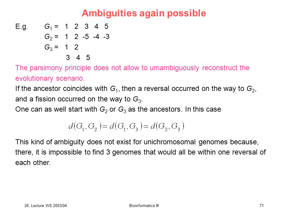 Ambiguities again possible