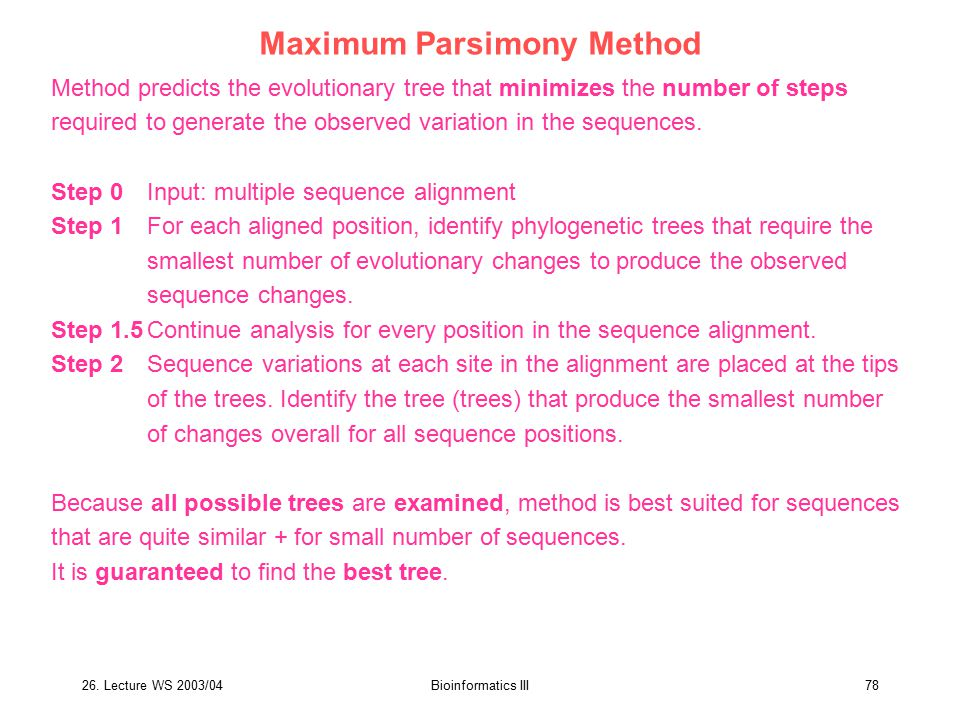 Maximum Parsimony Method
