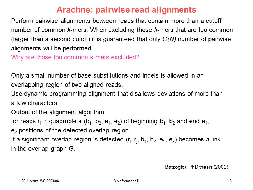 Arachne: pairwise read alignments