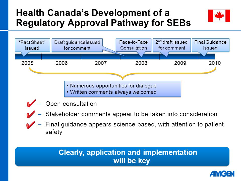 Health Canada's Development of a Regulatory Approval Pathway for SEBs