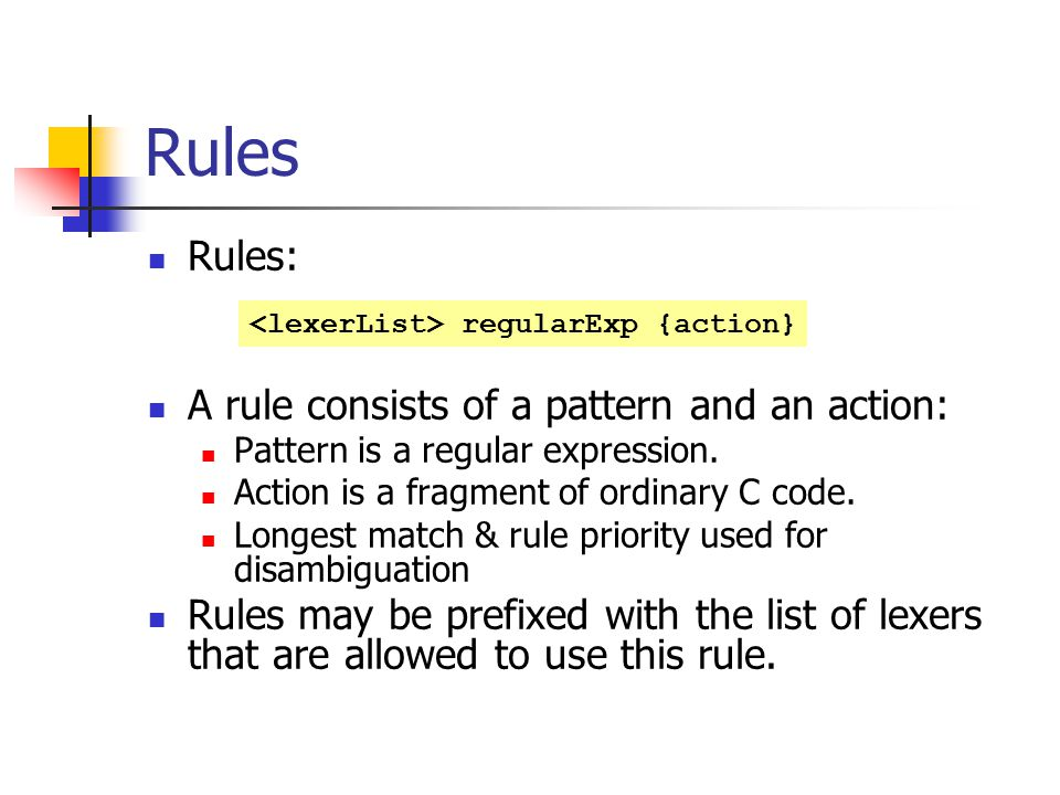 Rules Rules: A rule consists of a pattern and an action: