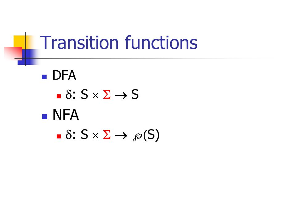 Transition functions DFA : S    S NFA : S    (S)