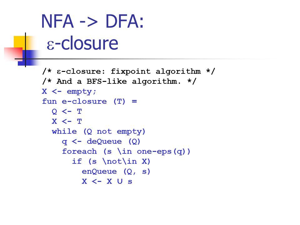 NFA -> DFA: -closure