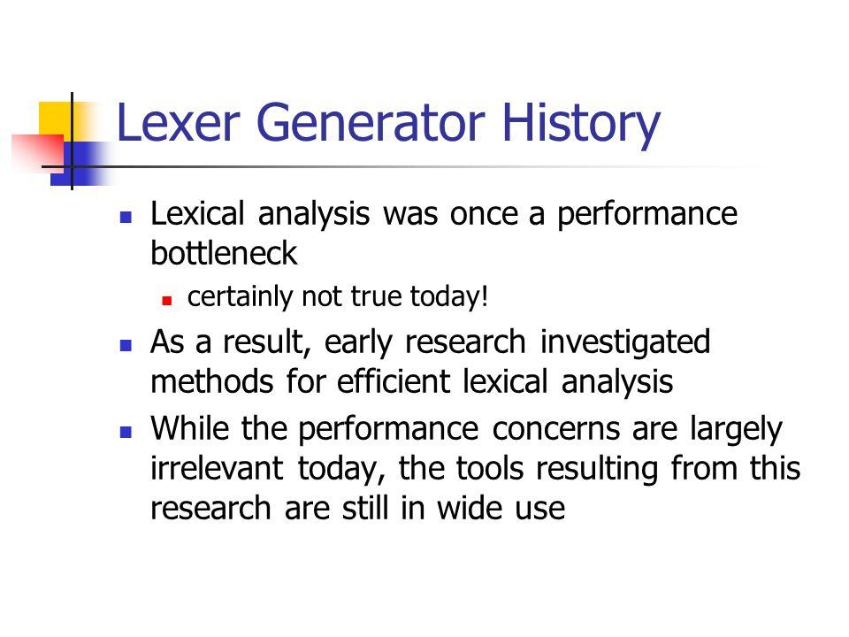 Lexer Generator History