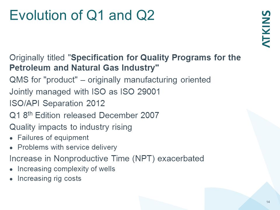 Evolution of Q1 and Q2 Originally titled Specification for Quality Programs for the Petroleum and Natural Gas Industry