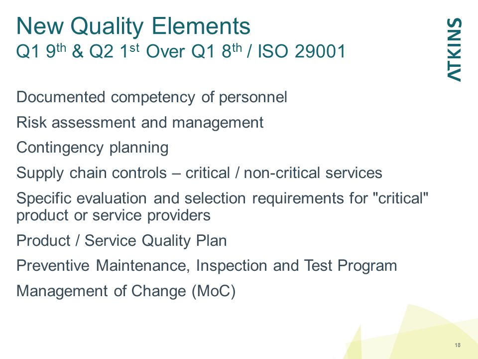 New Quality Elements Q1 9th & Q2 1st Over Q1 8th / ISO 29001