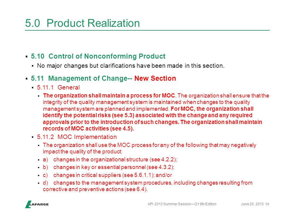 5.0 Product Realization 5.10 Control of Nonconforming Product