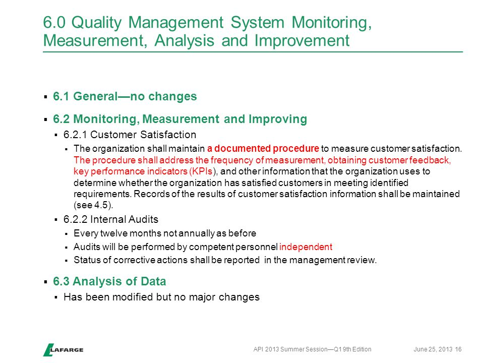 6.0 Quality Management System Monitoring, Measurement, Analysis and Improvement