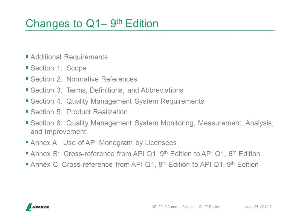Changes to Q1– 9th Edition
