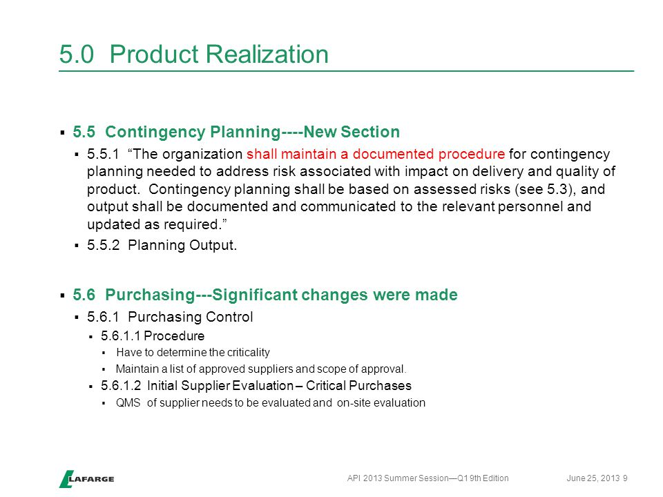 5.0 Product Realization 5.5 Contingency Planning----New Section