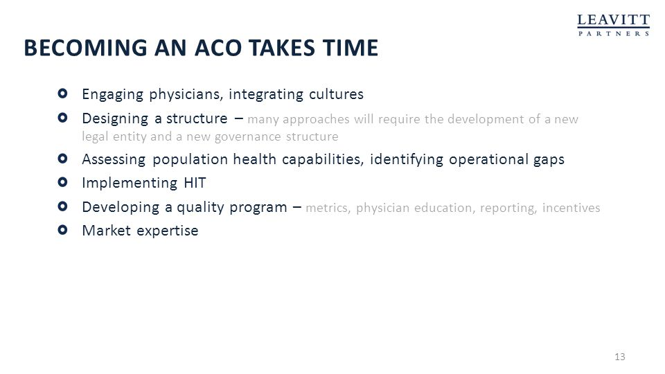 Becoming an ACO Takes time