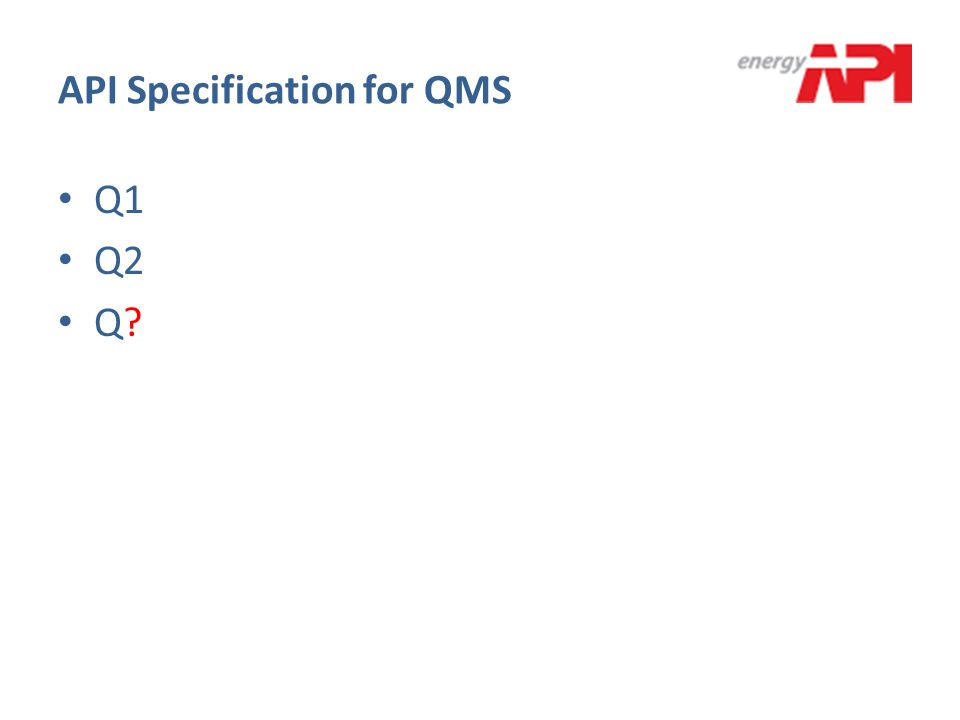 API Specification for QMS