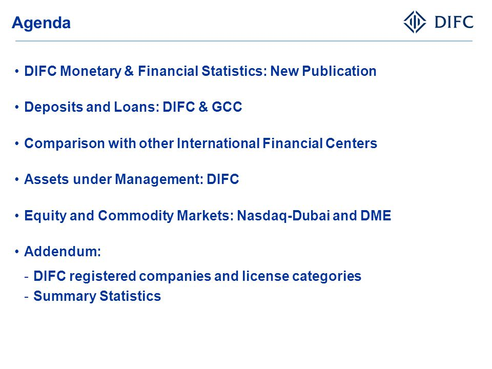 Agenda DIFC Monetary & Financial Statistics: New Publication