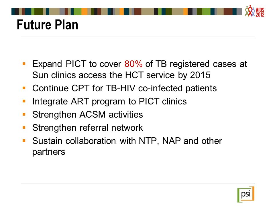 Future Plan Expand PICT to cover 80% of TB registered cases at Sun clinics access the HCT service by 2015.
