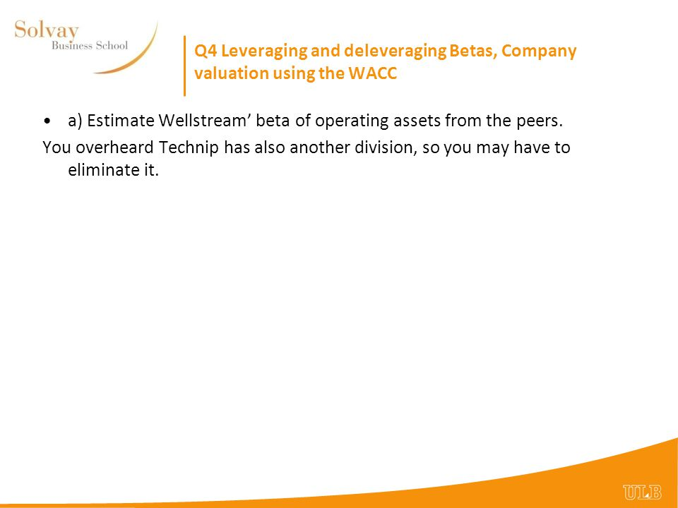 Q4 Leveraging and deleveraging Betas, Company valuation using the WACC