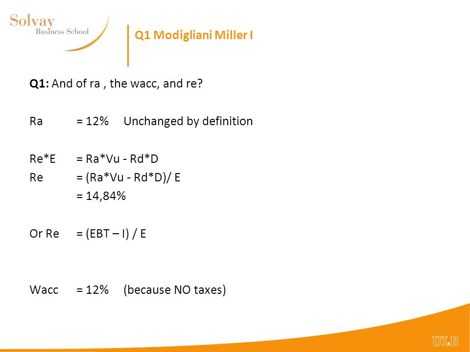 Q1 Modigliani Miller I