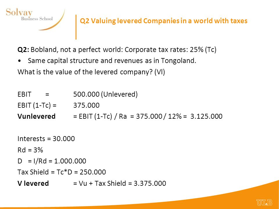 Q2 Valuing levered Companies in a world with taxes
