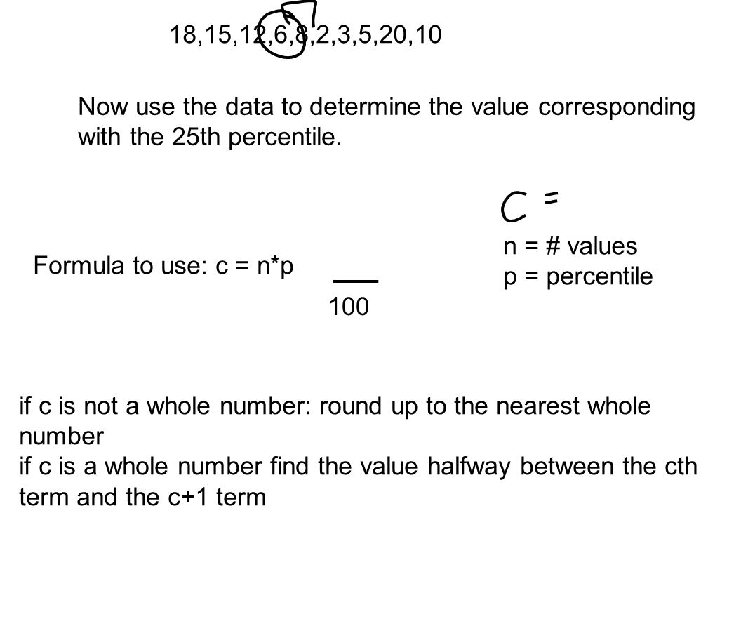 18,15,12,6,8,2,3,5,20,10 Now use the data to determine the value corresponding with the 25th percentile.