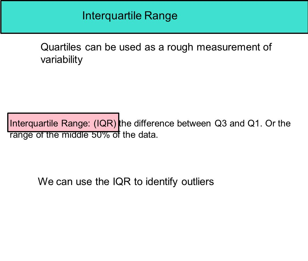 Interquartile Range Quartiles can be used as a rough measurement of variability.