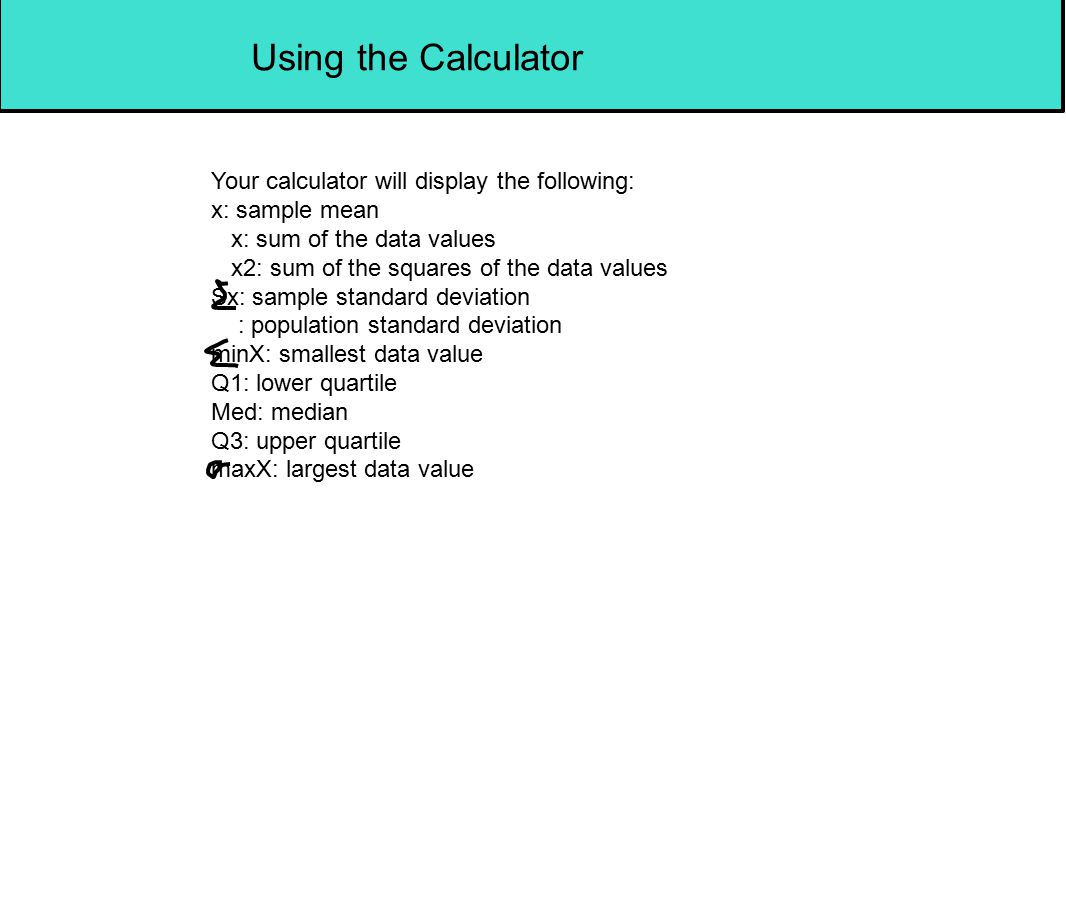 Using the Calculator Your calculator will display the following: