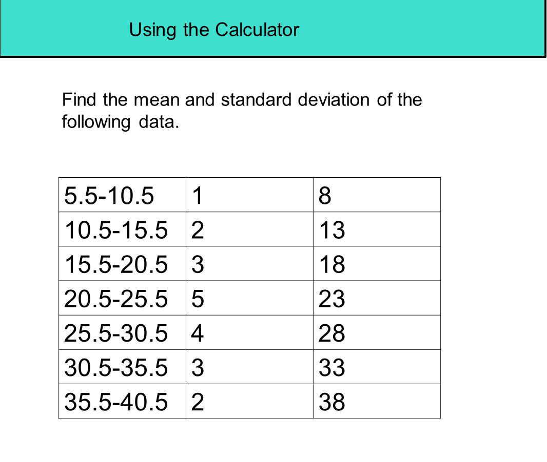 Using the Calculator Find the mean and standard deviation of the following data. 5.5-10.5. 1. 8.