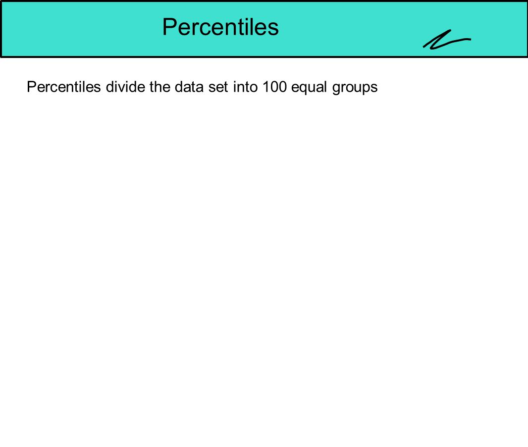 Percentiles Percentiles divide the data set into 100 equal groups