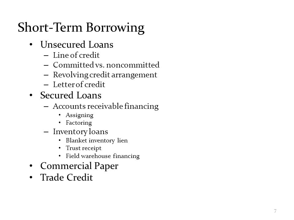 Short-Term Borrowing Unsecured Loans Secured Loans Commercial Paper